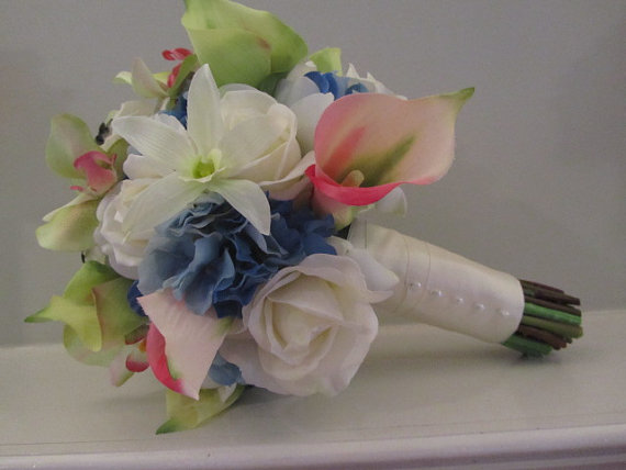 Bridal Bouquet With Calla Lilies And Hydrangeas : Real touch bridal bouquet roses calla lilies orchids