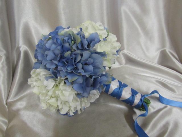 Blue And White Silk Wedding Bouquets : Silk wedding bouquet blue and white hydrangea on luulla
