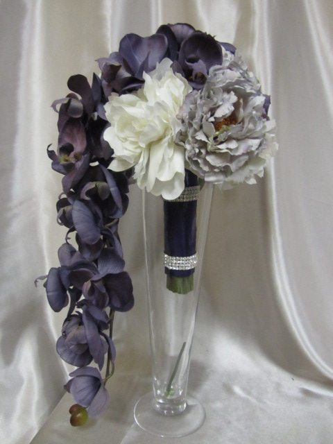 Real Touch Cascading Bridal Bouquet - White, Purple and Lavender Peonies and Orchids
