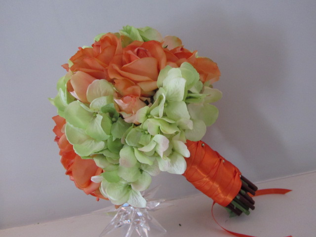 Real Touch Silk Bridal Bouquet - Orange and Green Roses and Hydrangea