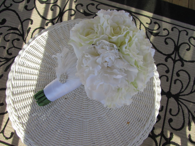 Real Touch Silk Bridal Bouquet - White Roses and Peonies with Feather and Rhinestone Accents