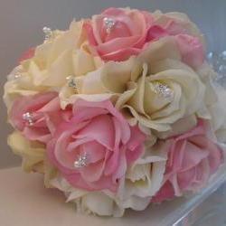 Real Touch Bridal Bouquet - Pink and Ivory Roses with Rhinestones