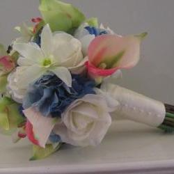 Real Touch Bridal Bouquet - Roses, Calla Lilies, Orchids, Hydrangea