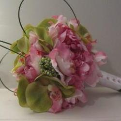 Silk Bridal Bouquet - Pink Peonies and Green Orchids