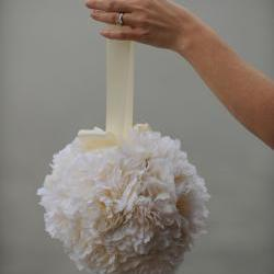 Silk Pomander - Ivory Peony Kissing Ball