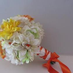 Silk Wedding Bouquet - Vibrant Yellow, Orange, Green and Ivory