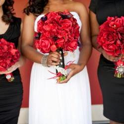 Real Touch Bridal Bouquet - Red and Black with Feather Accents