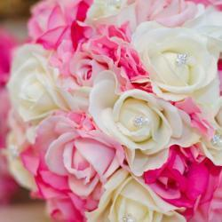 Real Touch Bridal Bouquet - Hot Pink, White, and Soft Pink with Rhinestone Accents